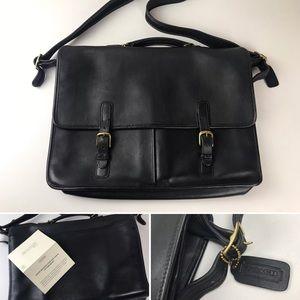 Coach VTG Black Leather Messenger Laptop Bag